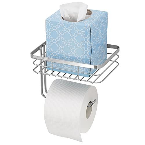 mDesign Portarrollos de papel higiénico con bandeja – Práctico portarrollos de baño de alambre metálico con estante para colocar toallitas o revistas – Moderno portarrollos de pared – plateado