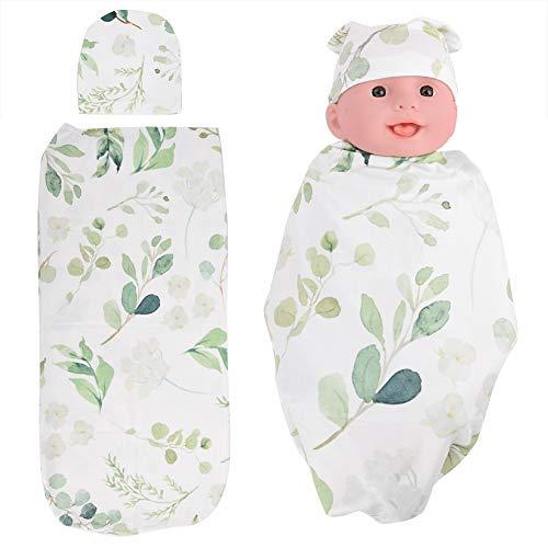 Baby Pucksack Pucktücher mit Hut Schlafsack Weich Swaddle Wrap Decke für Säuglinge Babys(Leaves)