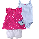 Bebé Niñas Vestido de Manga Corta + Pantalones Cortos + Body, 3 Piezas Conjuntos de Ropa 9-12 Meses