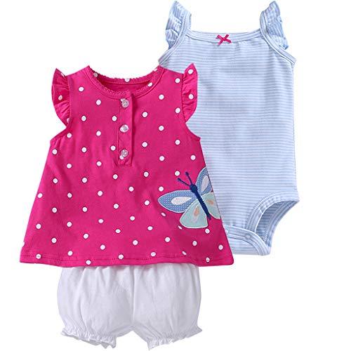 Bebé Niñas Vestido de Manga Corta + Pantalones Cortos + Body, 3 Piezas Conjuntos de Ropa 6-9 Meses