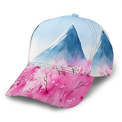 Corner Time Small Artificial Flowers Japanese Mount Fuji Japan Pink Cherry Baseball hat Cap Brim Bill Snapback dad Hats for Men Women Unisex