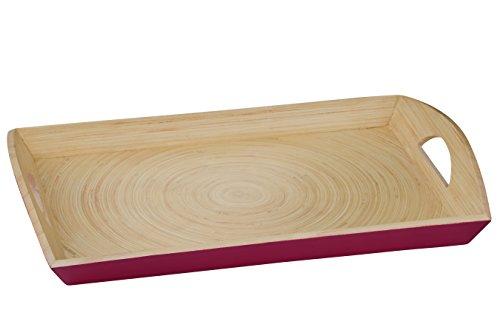 Premier Housewares Kyoto Plateau de Service, Filé, Bambou, Framboise, 30 x 45 x 7 cm