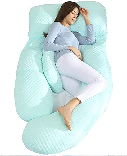 EIERFSKIOT sleep confort almohada almohada embarazada dormir Almohada de maternidad de cuerpo completo en forma de U para dormir de lado y aliviar el dolor de espalda, almohada de embarazo para dormir