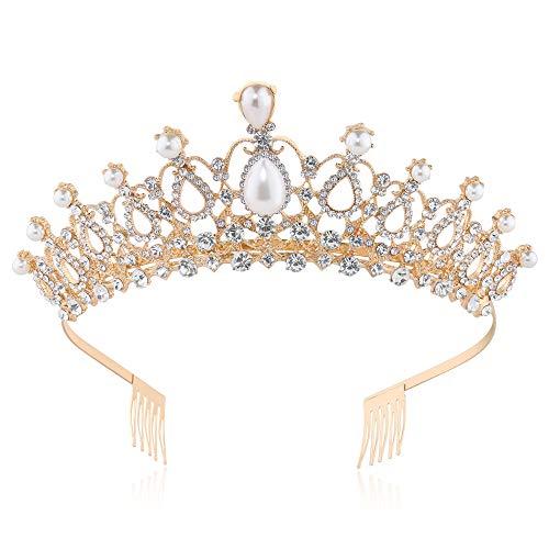 Coucoland Braut Tiara Hochzeit Krone Luxus Prinzessin Diadem Kristall Geburtstag Krone Damen Kostüm Accessoires (Stil 3 - Gold)
