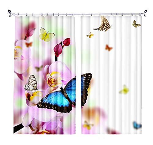 Daesar Cortina para Ventana Opaca,Rosa Blanco Azul Cortina Poliester Habitacion 2 Paneles Mariposas y Flores,Tamaño de Cortina 214x183CM