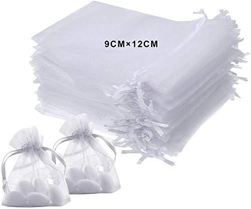 Bolsitas de Tela para Regalos, 100 Piezas Blanco Bolsas de Organza de Regalo para Boda Favores y Joyas (Blanco, 9cm X 12cm)
