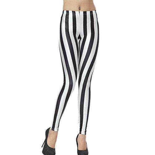 Aivtalk Moda Leggings Skinny Pantalones Lápiz Elásticos Pants para Mujer - Estampado de Rayas Modelo 1