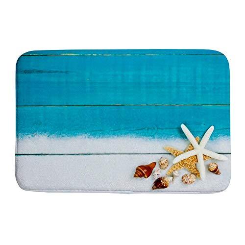 Tapete de banheiro absorvente para porta, coleção, conchas de estrela-do-mar, tapete de banheiro antiderrapante, lama caçador de sujeira entrada interno/externo 91,44 x 60,96 cm