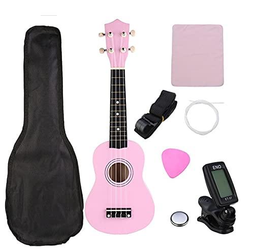 KTZAJO Ukelele soprano verde de 21 pulgadas, 4 cuerdas, guitarra hawaiana, instrumentos musicales, ukelele, guitarra soprano con sintonizador bolsa de conciertos (color rosa