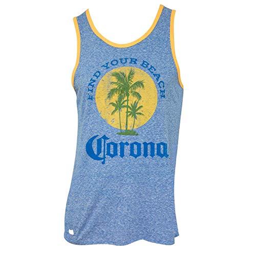 Corona Extra Herren- Ihr Strand Pop Top Opener Tank Top Flasche - Blau - S