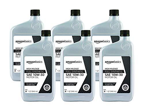 AmazonBasics High Mileage Motor Oil - Full Synthetic - 10W-30 - 1 Quart - 6 Pack