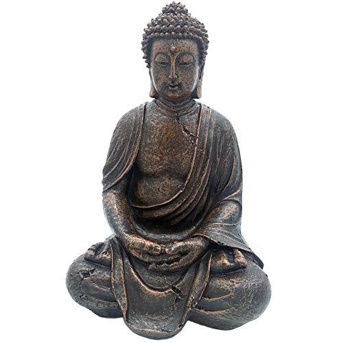 ThriBartLive Meditating Buddha Statue Meditative Figurine - Grand Temple Buddha Sculpture Mindfulness Peace Harmony Buddha Polyresin Indoor and Outdoor Décor