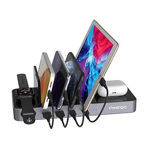 Prestigio Revolt A6 Ladestation für Handy Kompatibel mit Apple, iPad - 6 Port Docking Station mit 2 kabellosen Schnittstellen für Qi Geräte - Standfuß für Handy, Tablet, andere Gerätemit 4 Kabeln