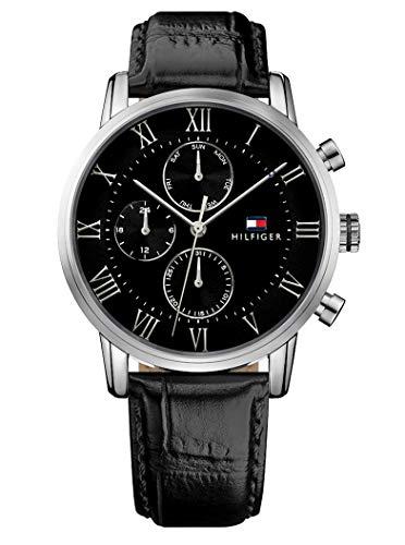 Tommy Hilfiger Herren Multi Zifferblatt Quarz Uhr mit Leder Armband 1791401