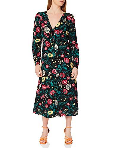 Springfield Vestido Largo Nudo Escote, Negro, 40 para Mujer