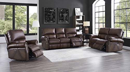 Hydeline Raymond Power Leather Reclining Sofa, Loveseat and Recliner, Brown