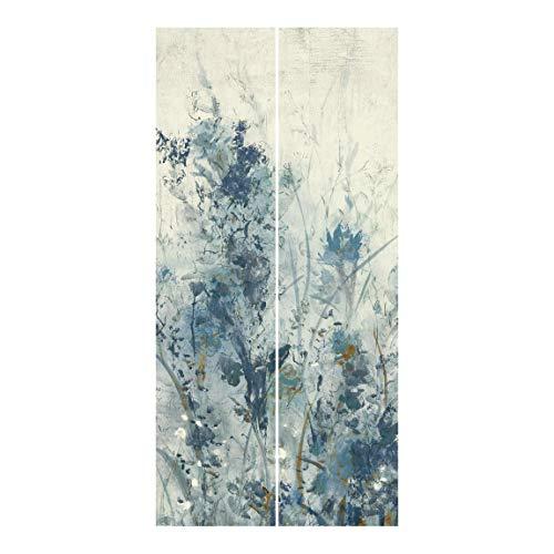 Bilderwelten Schiebegardinen Set Blaue Frühlingswiese I 2 Flächenvorhänge je 250x60cm