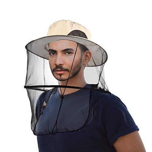 CozyCabin Mosquito Head Net Hat with Hidden Net Mesh, Outdoor Fishing Hat Repellent Protection from Bee Mosquito for Outdoor Lover Men or Women(Beige)