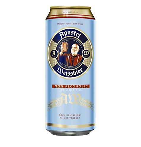 Apostel cerveza de Trigo sin alcohol Alemana de 500ml - Caja de 24 Latas- TOTAL=12 L