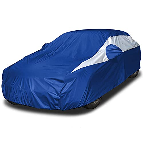 Lightweight Car Cover (Electric Blue) for Camry, Mustang, Accord and More. Waterproof Car Cover Measures 200 Inches, Comes with 7 Foot Cable and Lock. Features a Driver-Side Zippered Opening.