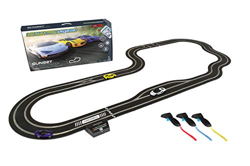 Scalextric ARC Pro App Race Control Sunset Speedway Slot Car Digital 1:32 Race Track Set C1388T,White, Yellow & Purple (Scalextric Continental Sports Cars Best Price)