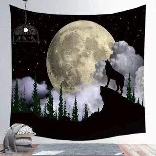 KHKJ Patrón de Luna Bohemia Piel de melocotón Súper Suave Tela Colgante Ins Tapiz Manta de Playa Decoración del hogar Fondo de Pared A7 150x130cm