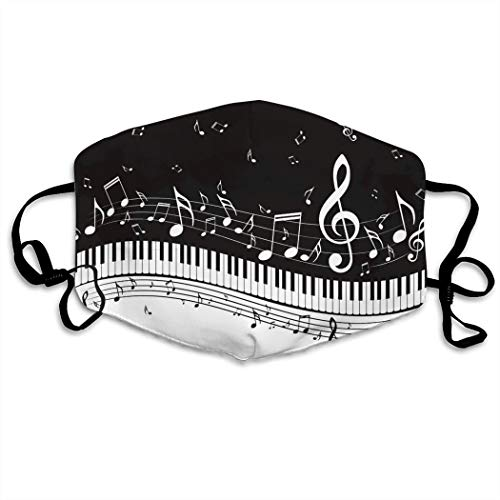 A Piano Keys With Musical Notes Comfortable Adjustable Funny Pattern Facial Decorations for Women and Men