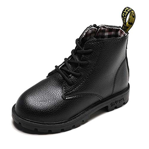 Daclay Kids Shoes Children's Boots Boys and Girls Martin Boots Student Leather Shoes (9.5 Toddler,Black)