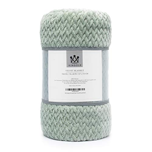 Kingole Flannel Fleece Luxury Throw Blanket, Laurel Green Travel/Throw Size Jacquard Weave Pattern Cozy Couch/Bed Super Soft and Warm Plush Microfiber 350GSM (50 x 60 inches)