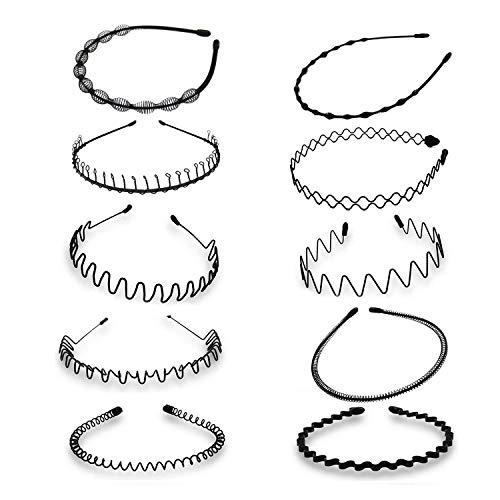 10 Stück Unisex Metall Haarband, Schwarz Spring Welle Haarbänder, Rutschfestes Elastisches Stirnband, Multi-Stil Frühling Haarreifen Haarschmuck Zubehör für Frauen Männer