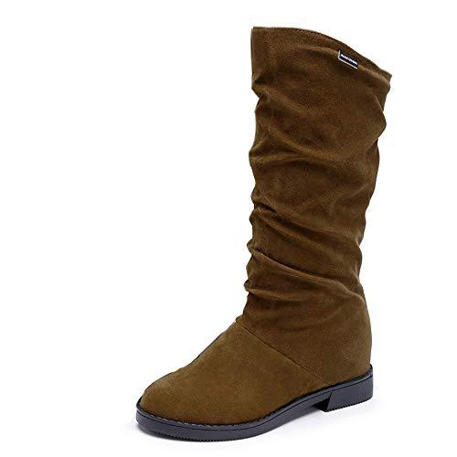 Bottines Automne et Hiver Bottes pour Femme Boots Plates Élégant Mode Stretch Daim Bout Rond Bottes de Neige Chaussures de Ville
