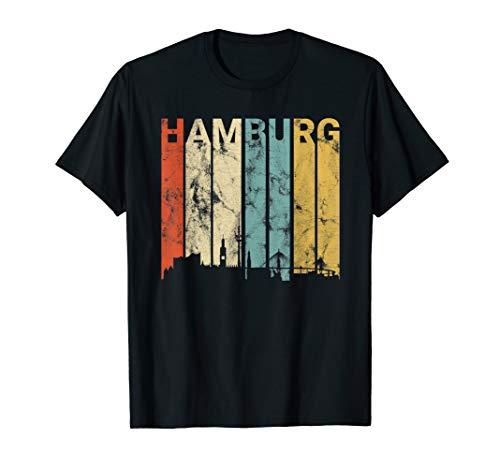 Hamburg Retro Silhouette T-Shirt Liebe Reeperbahn Hafen Elbe
