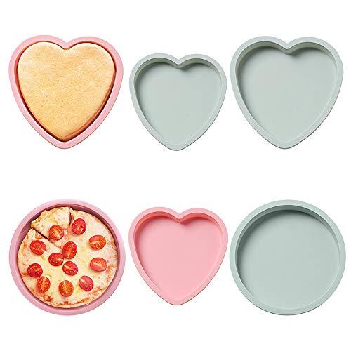PUDSIRN 6 Stück Silikon-Kuchenform, runde und herzförmige Silikon-Kuchen-Backform, 15,2 und 20,3 cm, Pizza-Formen für Geburtstagsparty