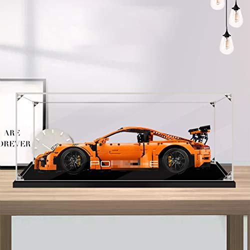 LuoKe Acryl Display Box Baustein Staubdichtes Gehäuse Show Box für Technik Porsche 911 GT3 RS Kompatibel mit Lego 42056