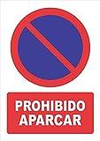 Señal prohibido aparcar - Cartel prohibido aparcar - Material PVC 0.7mm - Medidas 21cm x 30cm