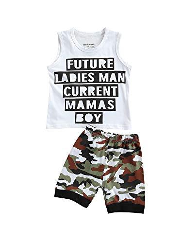 DELIMALI Conjunto de camiseta sin mangas con estampado de letras y pantalones cortos para bebé