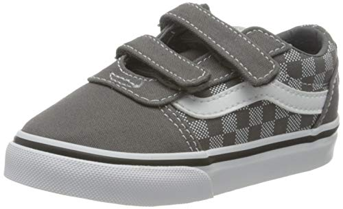 Vans Ward V-Velcro Canvas, Zapatillas Unisex bebé, Checker Dot Pewter/White, 39 2/3 EU