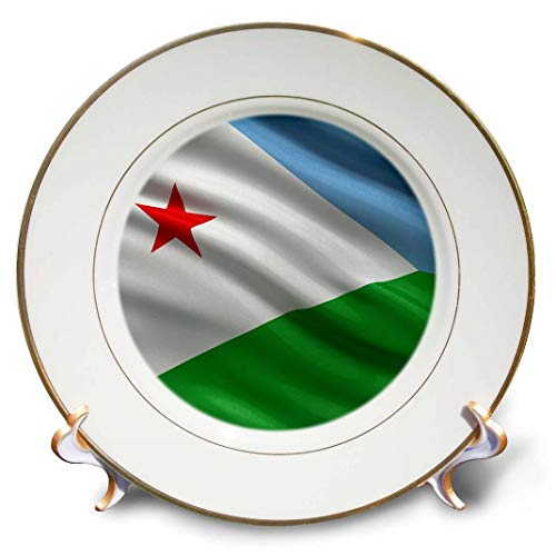 3dRose cp_178743_1 Porzellanteller, Flagge von Dschibuti, winkt im Wind, 20,3 cm, Porzellan, Nicht zutreffend