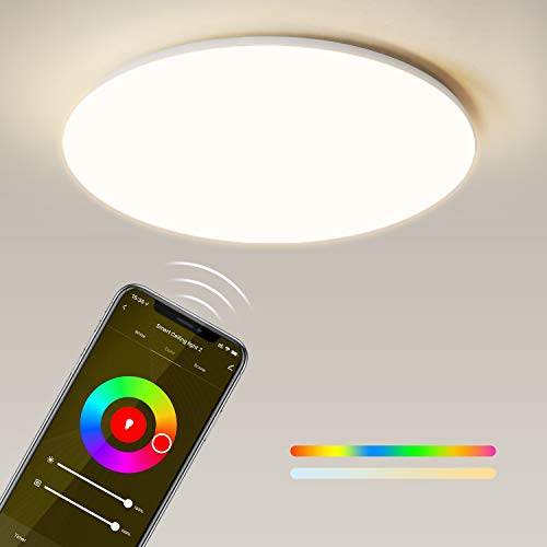 Maxcio Plafoniera LED Soffitto WiFi, Smart 24W Plafoniera LED Compatibile con Alexa e Google Home, 2400lm, RGB+Bianco Freddo/Calda Regolabile 3000-6500K, IP54 Impermeabile Adatto a Camera, Cucina