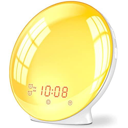 Despertador luz despertador, luz nocturna para niños, compatible con Alexa & Google Home, simulación de 7 colores de amanecer y decoloración de la puesta del sol, reloj despertador doble con radio FM
