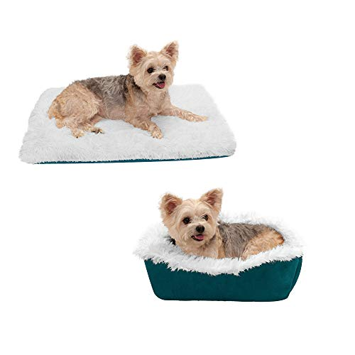 Furhaven Pet Dog Bed - Convertible Insulated Thermal Self-Warming Mat Plush Faux Fur Cuddle Nest Lounger Pet Bed for Dogs and Cats, Spruce, Small