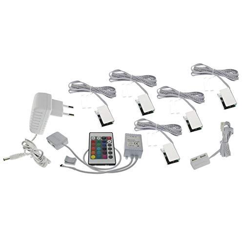 Trango set de 5 luces LED de cristal RGB con cambio de color RGB, incluido control remoto TG5022-05 Iluminación del gabinete, Iluminación de estante de vidrio, Iluminación de escaparate, Clips LED