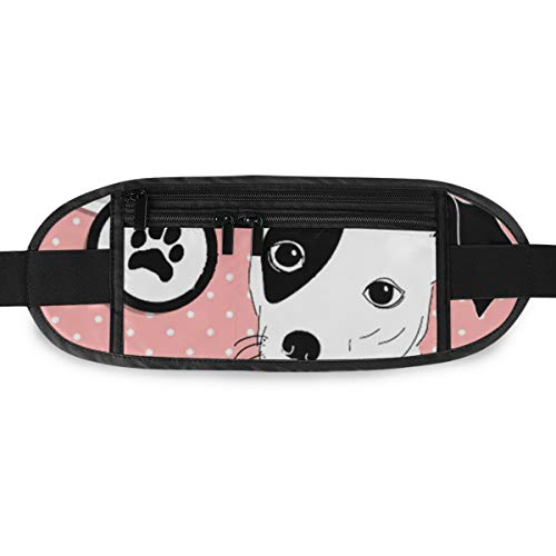 SLHFPX I Love Dogs Cute Jack Russell Hidden Money Belt,Fanny Pack,Running Belt,Travel Wallet Pouch,Wasit Packs Bag,Passport Holder,Bum Bag,Belt Bags for Women Men