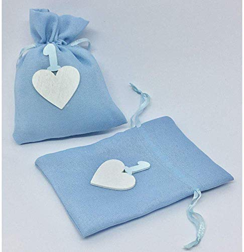Publilancio Srl Bolsa Azul Cielo Bolsas para Peladillas Corazón 1 Primer Cumpleaños Detalle