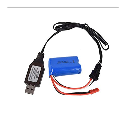 Rechargeable Lithium Battery 16500 X 2 750mAh 6.4V 15C JST+SM3P Plug for WLTOYS A959-A A969-A 4WD RC Toy Car Electric Appliances Lighting Equipment with Charging cable
