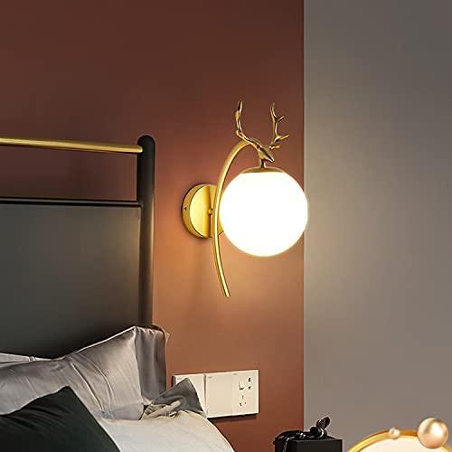 Dormitorio Lámpara De Cama Lámpara De Pared Lámpara De Pared Pasillo Lámpara Retro Lámpara (Negro, Oro)(Color:Crema Dorada)