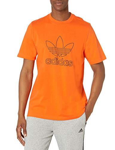 adidas Originals Camiseta para hombre con logotipo de trébol - naranja - Medium