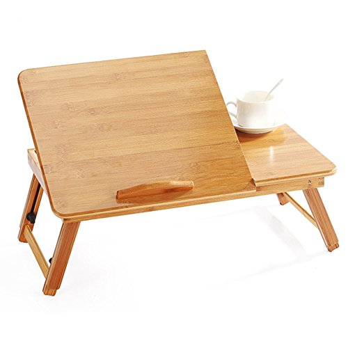 IBLUELOVER - Mesa plegable de bambú, mesa portátil, 5 niveles ajustable, bandeja de cama con cajón, mesa de cama, soporte PC, lectura, libro pequeño para sofá, oficina, escuela