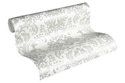 Livingwalls Vliestapete mit Glitter Neue Bude 2.0 Tapete mit Ornamenten barock 10,05 m x 0,53 m grau weiß Made in Germany 361664 36166-4