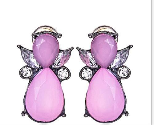 OorspeldenOntwerp Oorknopjes Hars Steen Europees merk Hematiet Oorbellen Zwarte oorbellen voor vrouwene0182pink